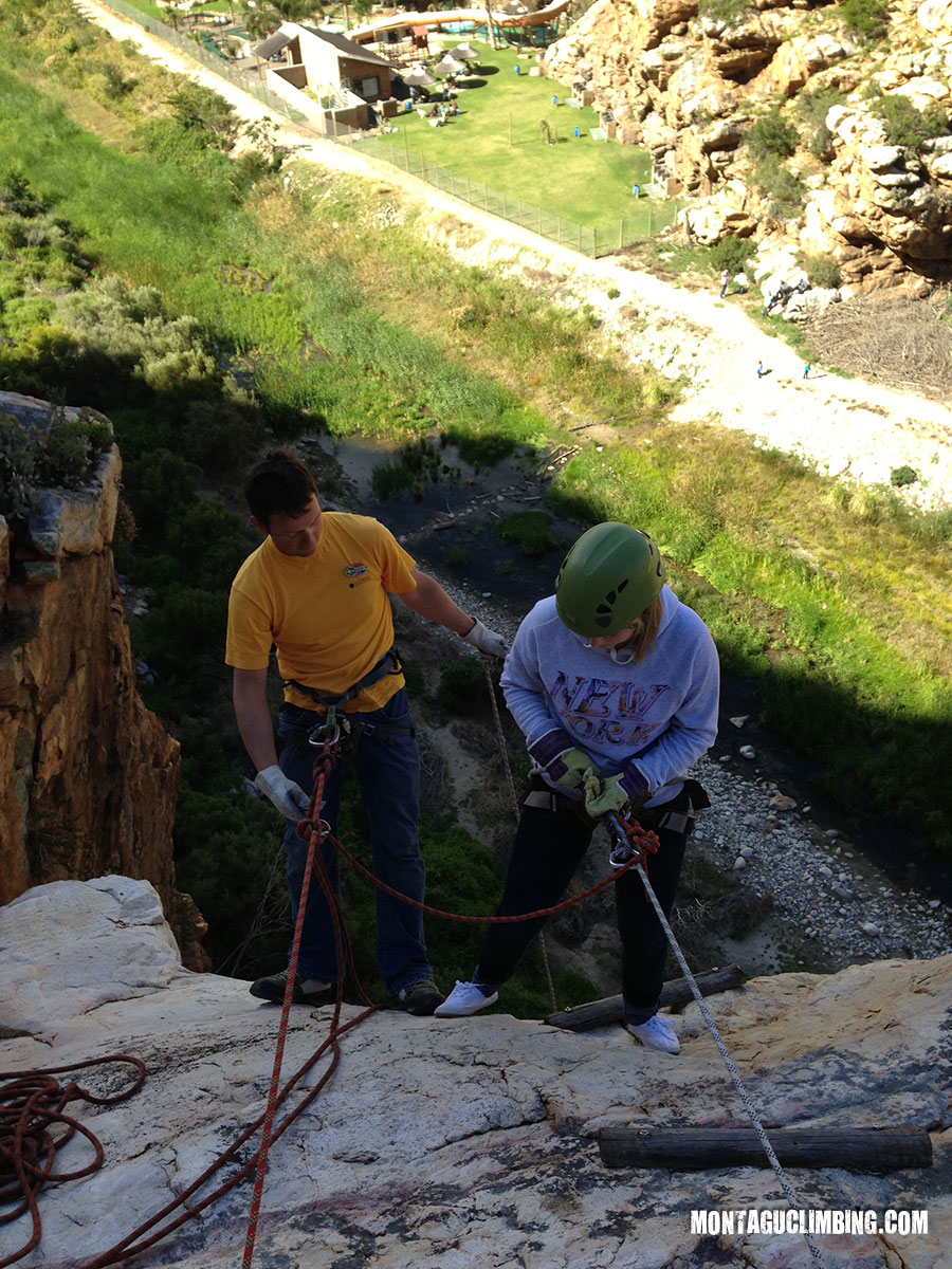 Family abseiling in Montagu